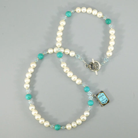 Natural Pearl, Turquoise, & Book Charm Necklace