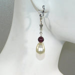 Swarovski Pearl and Garnet Earrings