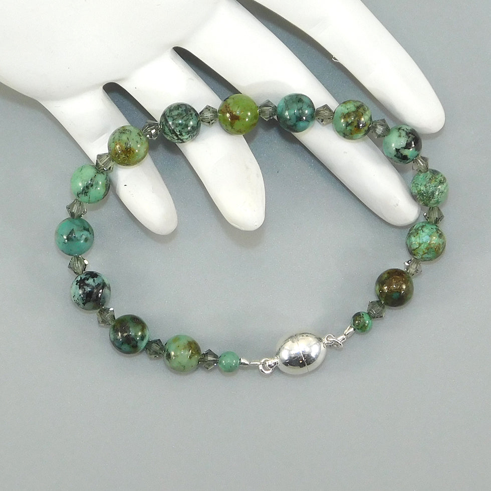 African Turquoise Oval Sterling Beaded Bracelet (w/Magnetic Clasp)