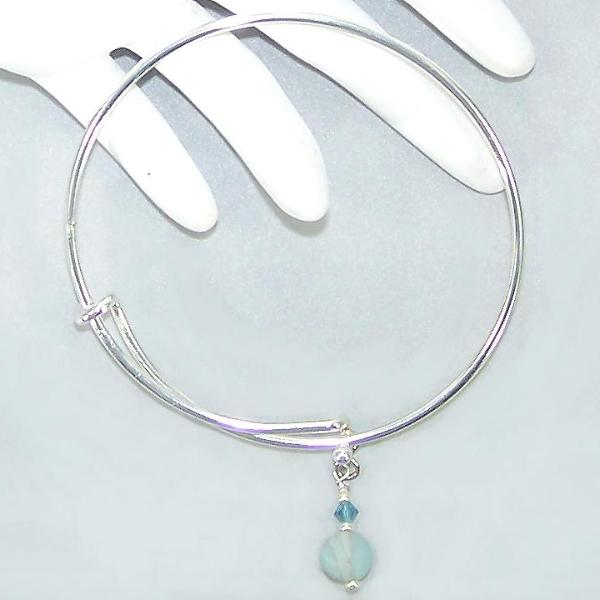Matte Amazonite Sterling Bangle Bracelet