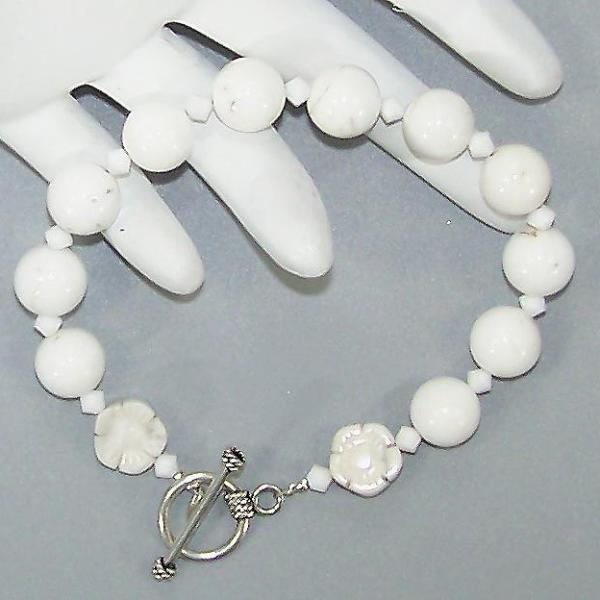 White Howlite Sterling Beaded Bracelet