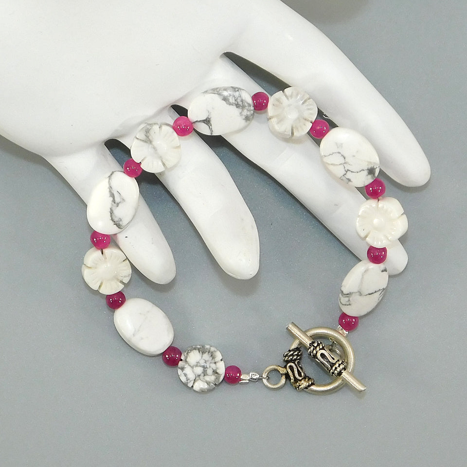 White Howlite & Raspberry Sterling Beaded Bracelet