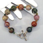 Fancy Jasper Sterling Beaded Bracelet (large)