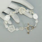 Quartz Crystal Flower Sterling Beaded Bracelet