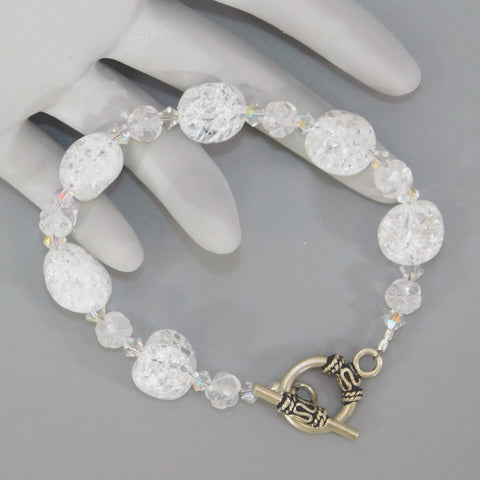 Quartz Crystal Sterling Beaded Bracelet