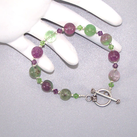 Flourite Sterling Beaded Bracelet