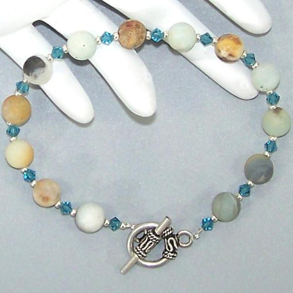 Matte Amazonite Sterling Beaded Bracelet