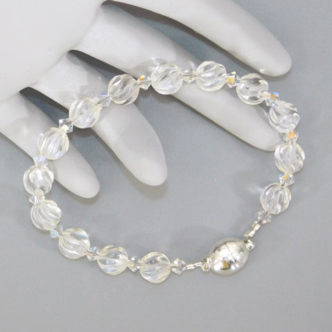 Quartz Crystal Beaded Bracelet w/ Magnetic Clasp