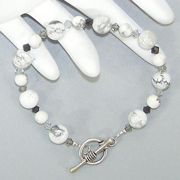 White Howlite & Black Crystal Sterling Beaded Bracelet