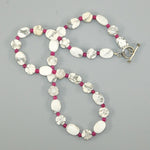 White Howlite & Raspberry Sterling Necklace