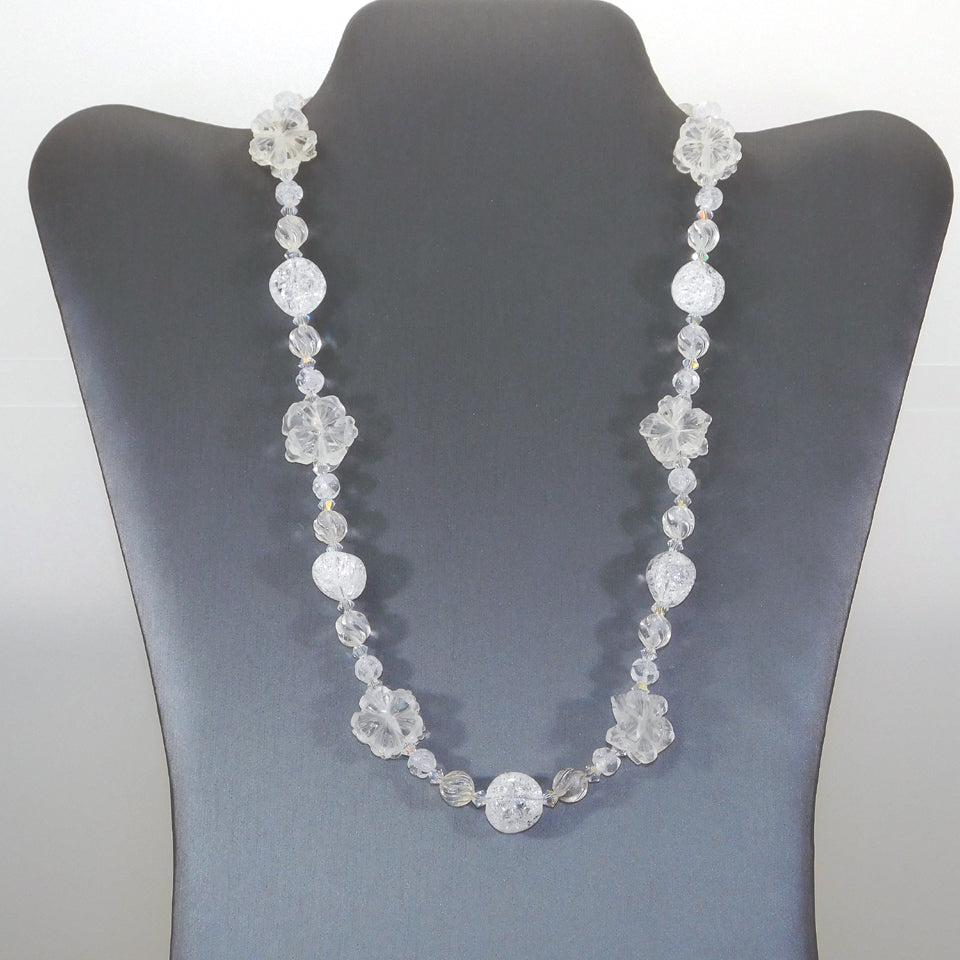 Quartz Crystal Flower Sterling Necklace