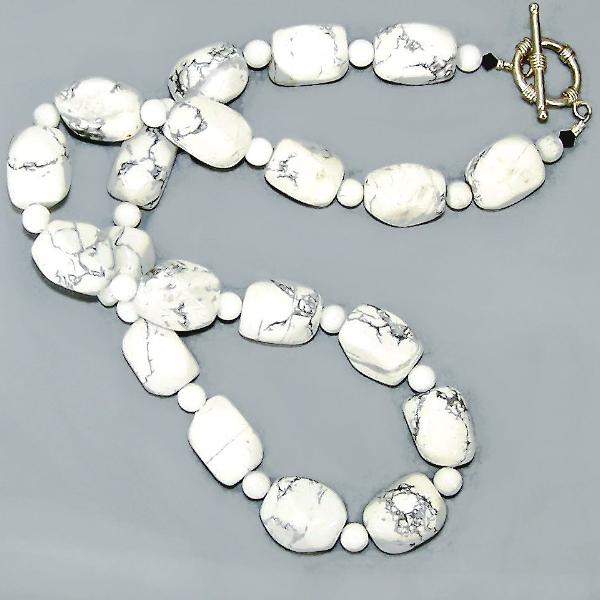 White Howlite Nugget Sterling Necklace