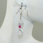 White Howlite & Raspberry Earrings