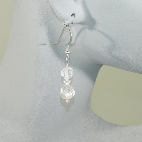 Quartz Crystal Double Bead Earrings