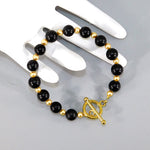 Black Onyx & Gold Swarovski Pearl Beaded Bracelet
