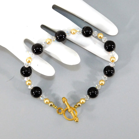 Black Onyx & Swarovski Beaded Bracelet