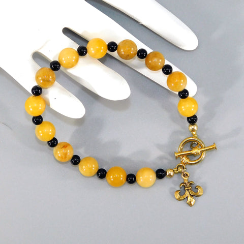 Yellow Jade & Onyx Beaded Bracelet