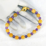 Yellow Jade & Amethyst Beaded Bracelet (magnetic clasp)