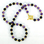 Amethyst & Gold Swarovski Pearl Necklace