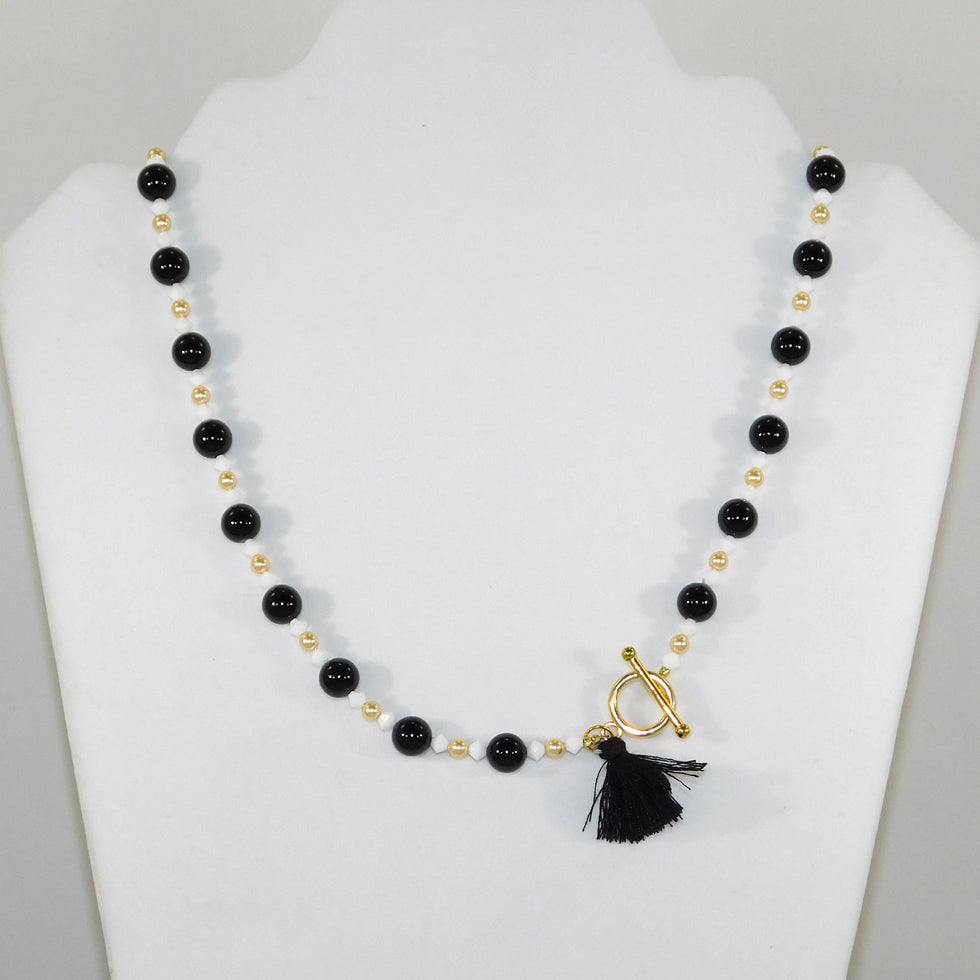 Black Onyx & Swarovski Necklace w/Tassel