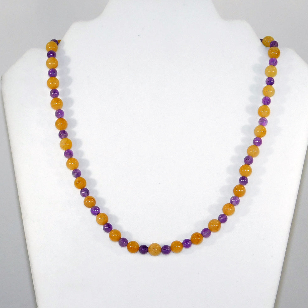 Yellow Jade & Amethyst Necklace