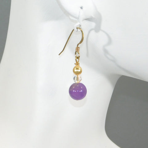Amethyst & Gold Swarovski Pearl Earrings