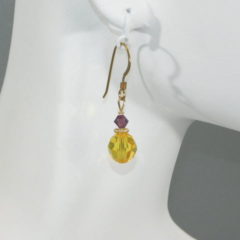 Purple & Gold Swarovski Earrings