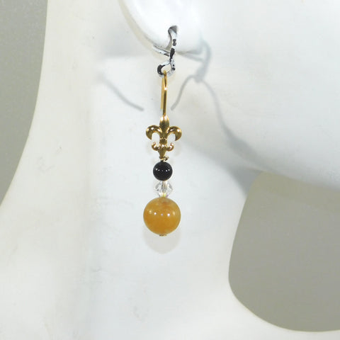 Yellow Jade, Swarovski, & Onyx Fleur de Lis Earrings