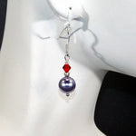 Grey & Red Swarovski Earrings