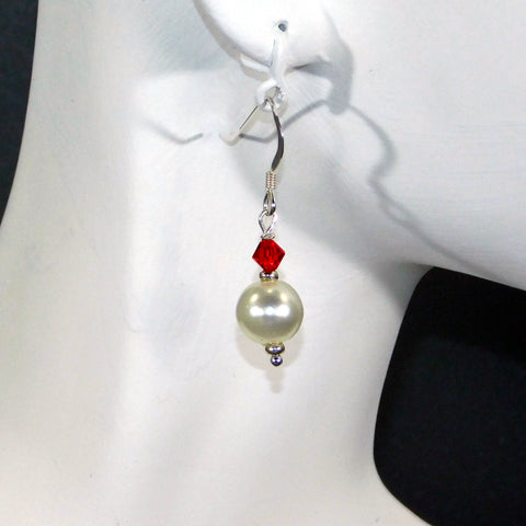 Pearl & Red Swarovski Earrings