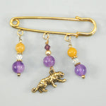 Tiger & Amethyst Gold Kilt Pin