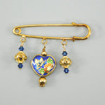 Blue Cloisonné Heart Gold Kilt Pin