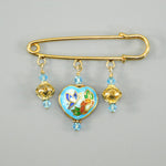 Sky Blue Cloisonné Heart Gold Kilt Pin