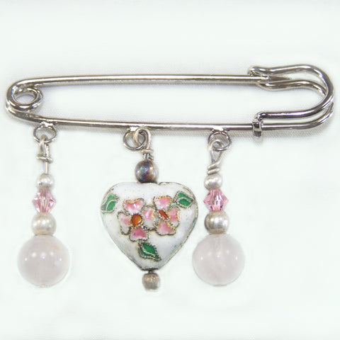 White Cloisonné Heart w/Rose Quartz Silver Kilt Pin
