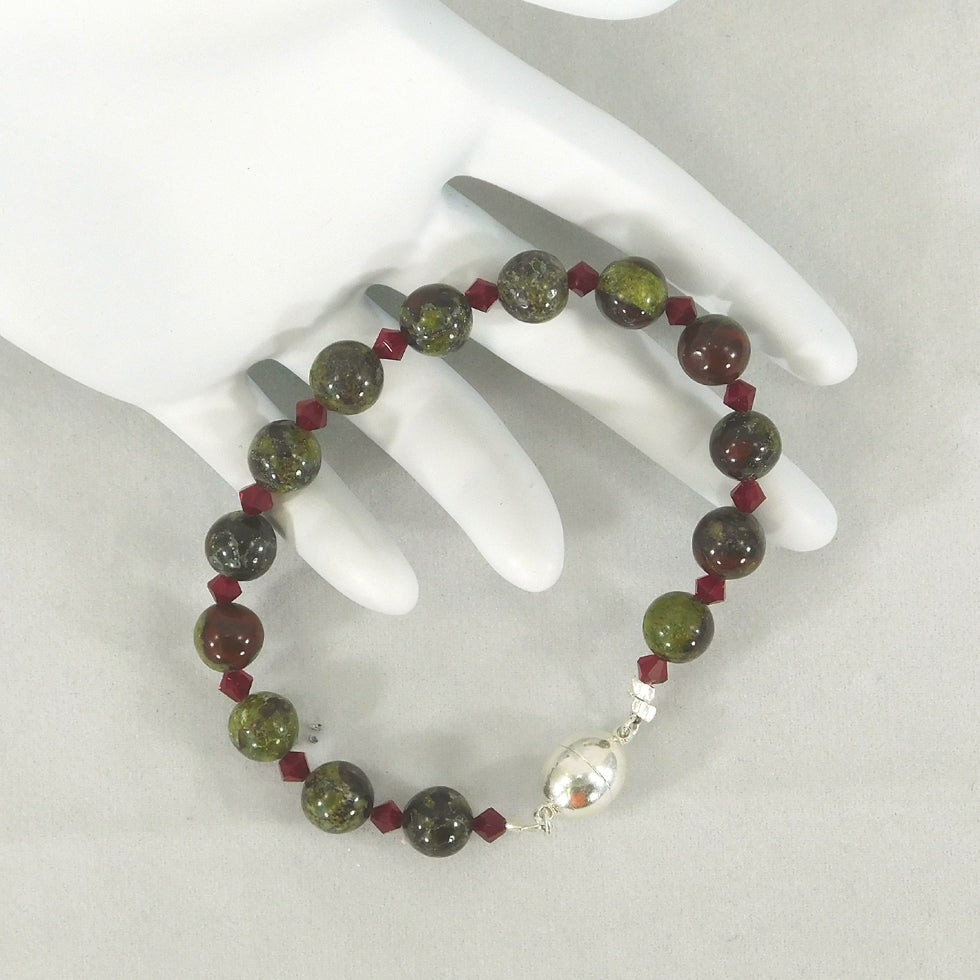 Dragon Blood Jasper Bracelet (magnetic clasp)