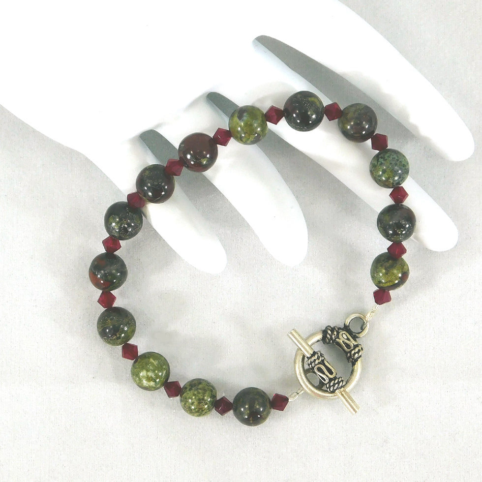 Dragon Blood Jasper Bracelet (Sterling clasp)