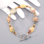 Crazy Lace Agate Flower Sterling Beaded Bracelet