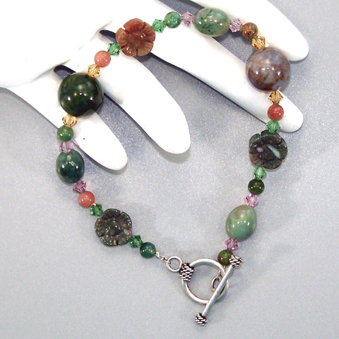 Fancy Jasper Flower Sterling Beaded Bracelet