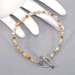 Crazy Lace Agate Sterling Beaded Bracelet
