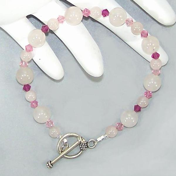 Rose Quartz and Gradient Pink Swarovski Sterling Beaded Bracelet