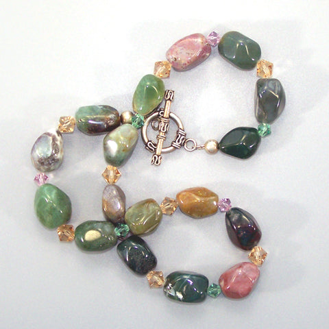 Fancy Jasper Nugget Sterling Necklace