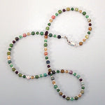 Fancy Jasper & Swarovski Sterling Necklace