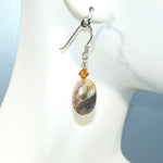 Crazy Lace Agate Oval & Swarovski Earrings
