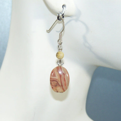 Crazy Lace Agate Oval Earrings