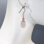 Rose Quartz Cap & Swarovski Earrings