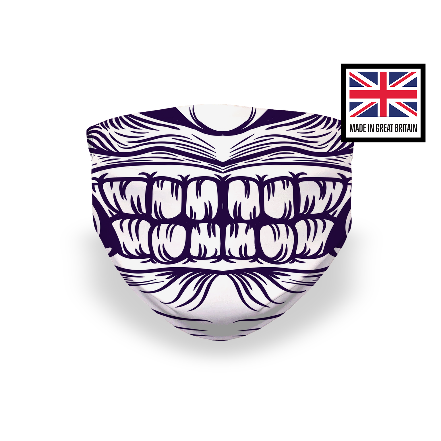 Monster Mouth Fangs Face Purple White Sublimation Face Mask