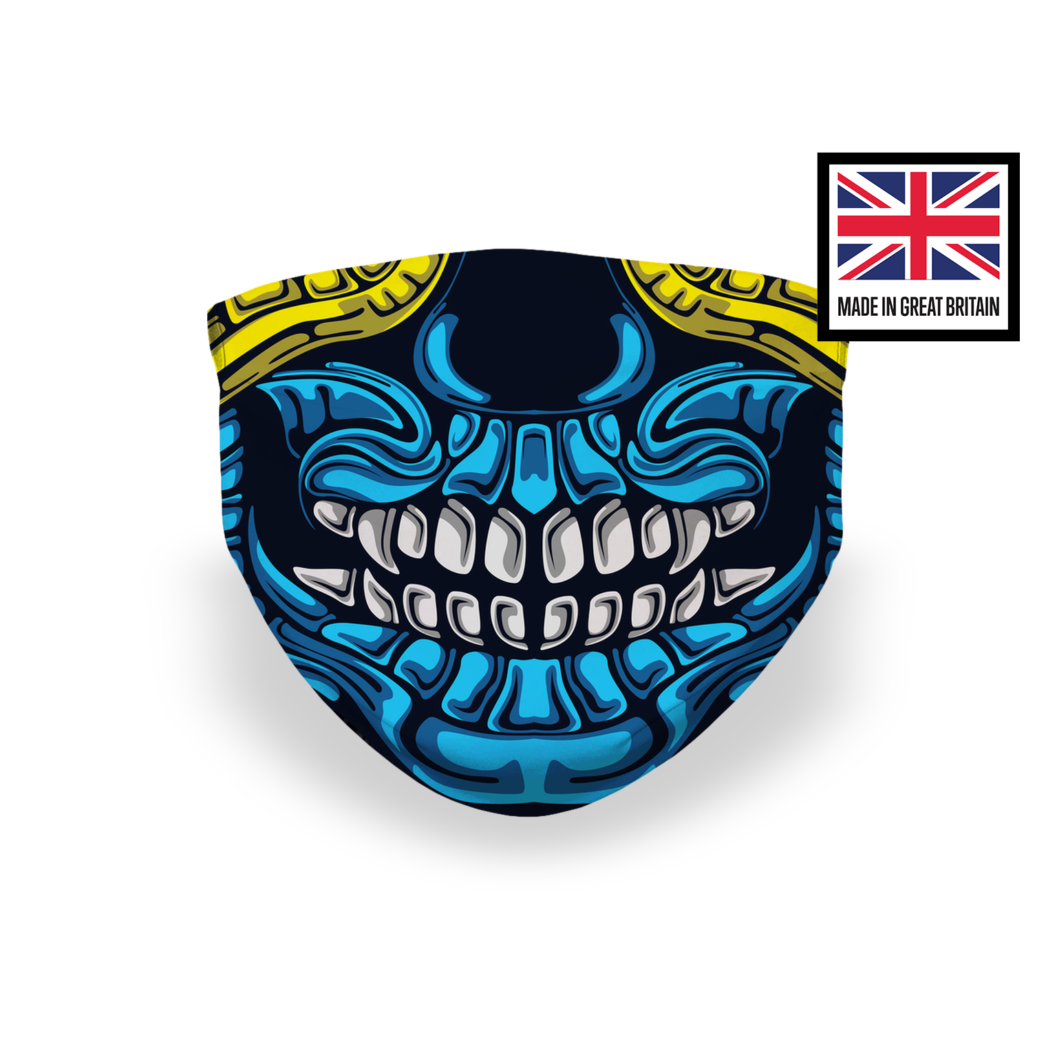 Skeleton Mouth Blue Yellow Sublimation Face Mask