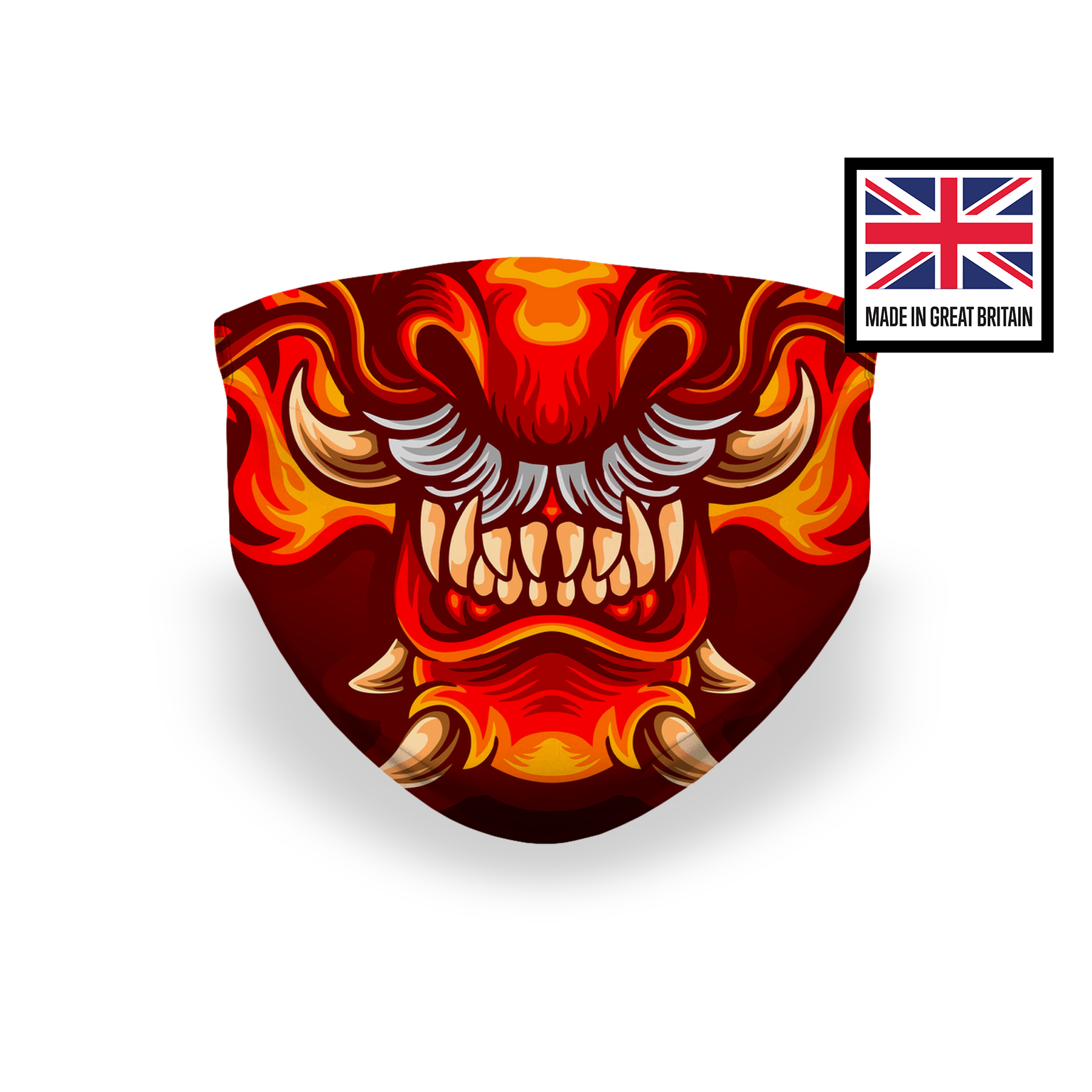 Dragon Lion Fierce Teeth Red Orange Sublimation Face Mask