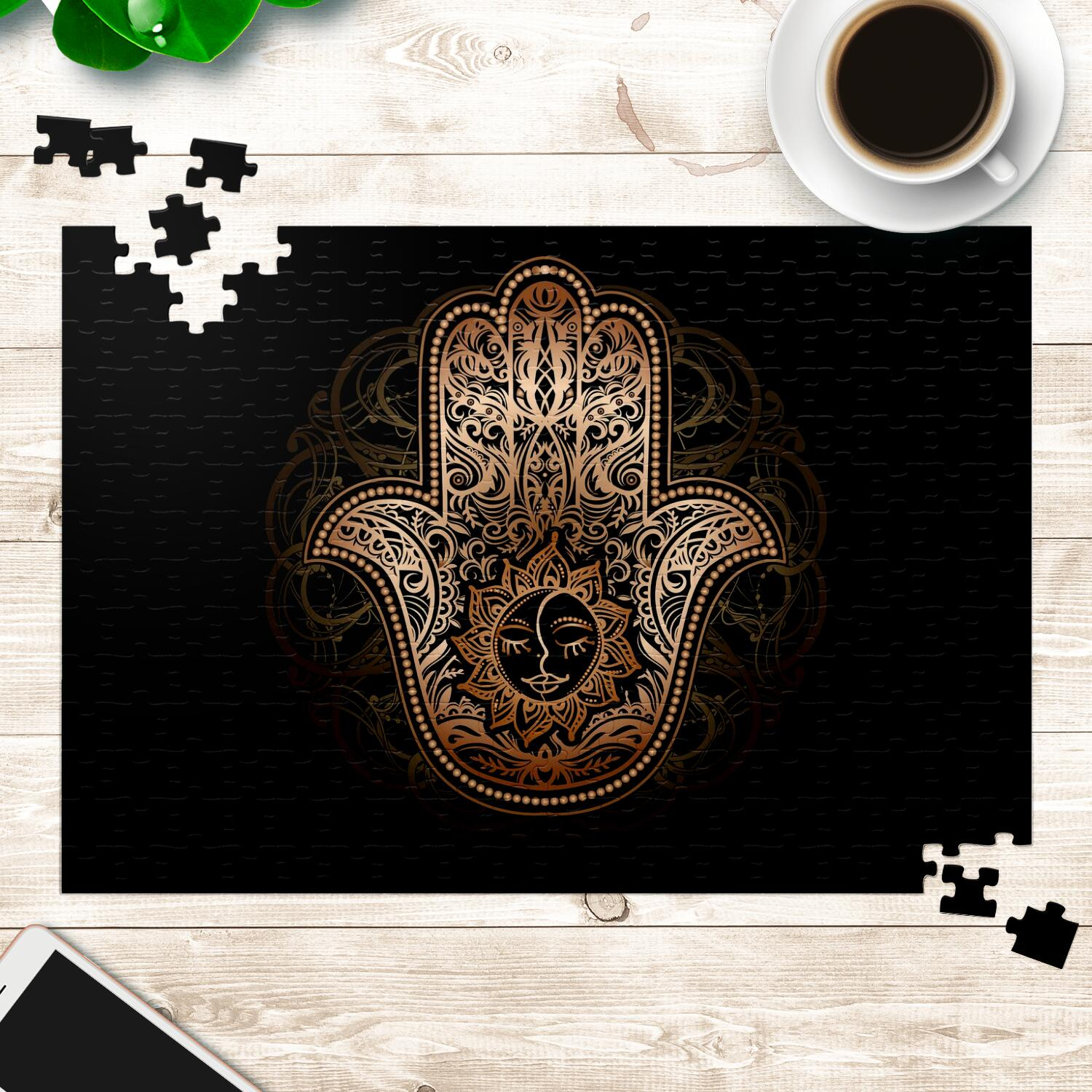 Black and Gold Hamsa Puzzle