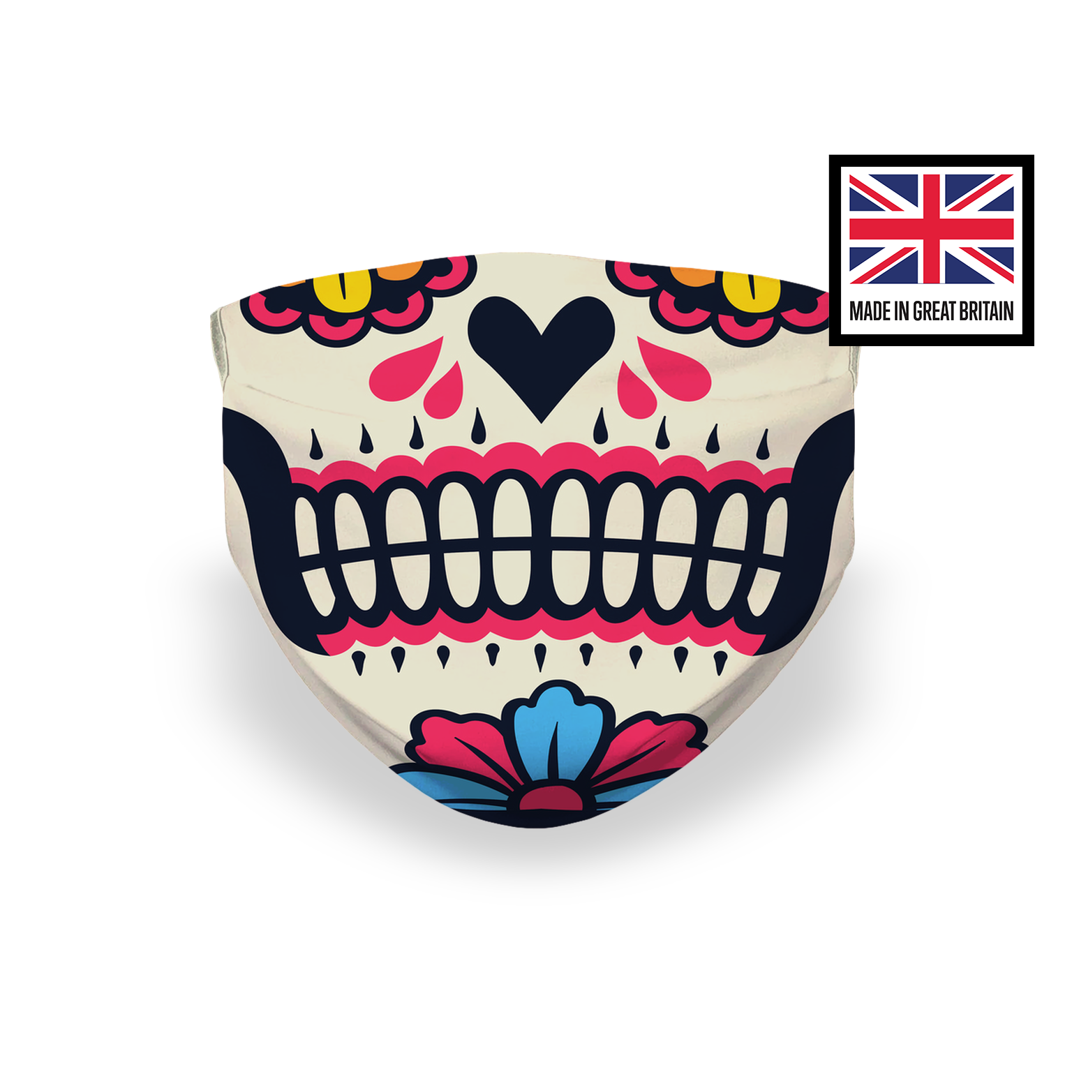 Sugar Skull Red White Sublimation Face Mask